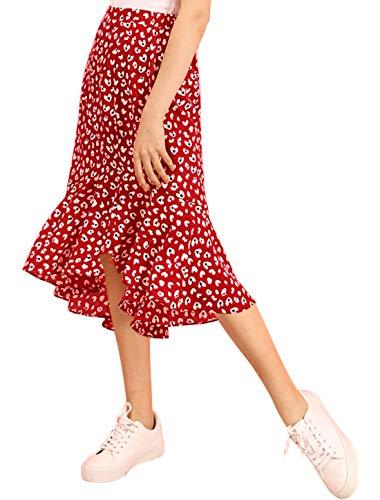 Allegra K Women's Leopard Floral Printed Ruffle Hem Mermaid Asymmetrical Midi Skirt Red Small