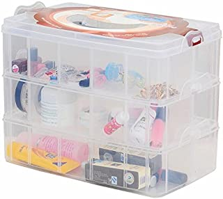 Kamay's Large 3 Tier Stackable Adjustable Compartment Slot Bead Craft Jewellery Tool Storage Organiser,Snap-lock Tray Container with 30 Compartments White