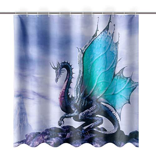 NICOLIE Dragón Antiguo Cortinas de Ducha Almohadilla de baño Alfombra con Pedestal Tapa Cubierta de Inodoro Tapete - B