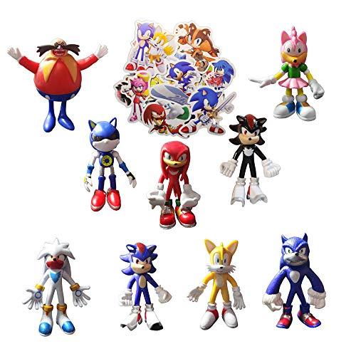 Sonic Figure Toys 9 unids/set Enviar 100 pegatinas Sonic Smileh Cake Toppers Figuras Sonic The Erizo Figuras Set Sonic Shadow Tails Cupcake Figurines para niños cumpleaños