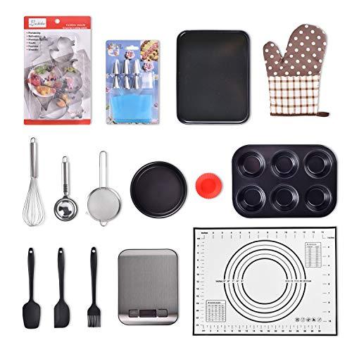 Kuty 40+ Backset, für Anfänger und Fortgeschrittene;Packungen mit Silikon-Backutensilien, Cupcake-/Backblech, Ausstechersets,Backofenhandschuhe, elektronische Waage, Kuchendekorationszubehör,Werkzeuge