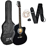 3rd Avenue STX10ECABKPK Paquete de guitarra electroacústica Cutaway, Negro, Corte electroacústico, Paquete estándar