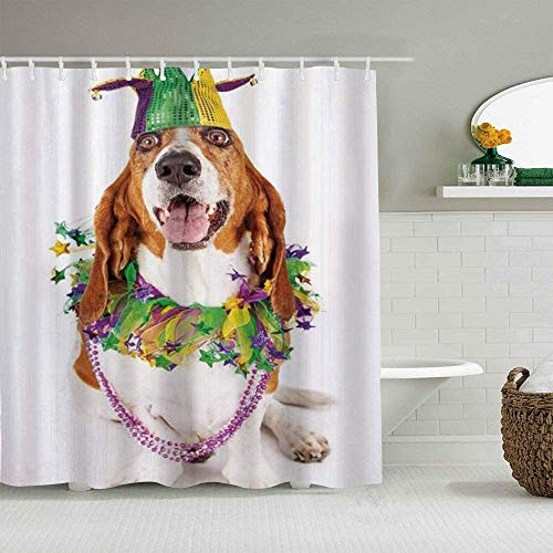 OPTUDA Home Bath Decor Funny Shower Curtain Set, Happy Smiling Basset Hound Dog Wearing A Jester Hat Neck Garland Bead Necklace, 100% Polyester, Fabric Quote Tapestry, Bathroom, Hotel, 72' W x 78' H