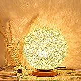 OCTUBRE Elfo moderno a cuadros de mimbre esférico bola de mimbre lámpara de mesa de noche lámpara de decoración del hogar lámpara regulable con bombilla LED cálida USB, 20 cm