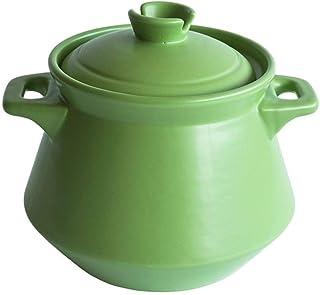 JJLL Olla arrocera de cerámica Tradicional Coreana con Tapa, Olla arrocera de Barro, Olla arrocera Estilo japonés Donabe (Color : Green, Size : 5L)