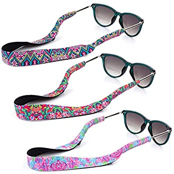 YR Floral Pattern Sunglass Straps Soft And Durable Neoprene Material Floating Eyewear Retainers 3 Packs.