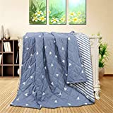 Fansu Bedspread Quilt Single Double Super King Bed Size, Reversible Quilted Bed Cover Sofa Blanket Throw Decorative Coverlet Microfiber Comforter Bed Sheet (Blue triangle,200x220cm)