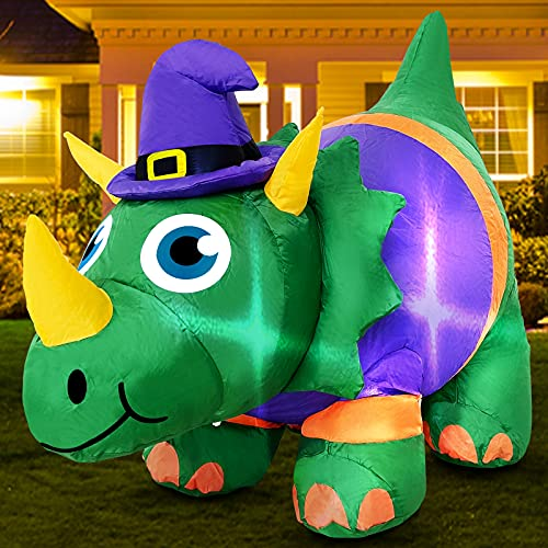 TURNMEON 3.5 Foot Halloween Inflatables Dinosaur with Witch Hat Decorations with LED Lights 4 Ground Stakes 1 Weight Bag…