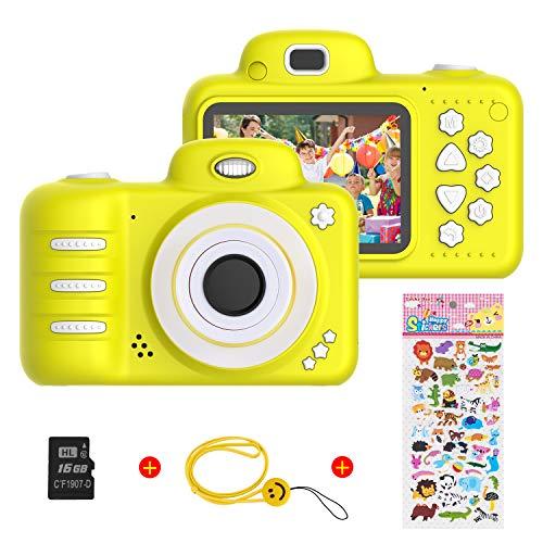 Vannico Camara Fotos, Camara para Niños Cámaras de Video para niños Cámara Digital 8MP 1080P HD Juguetes para niña de 3-10 años con Tarjeta de 16GB TF (Amarillo)