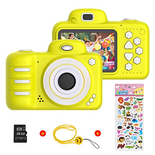 Vannico Kinder Digital Mini Kamera, Selfie Photo Kids Camera HD Kinderkamera 8 Megapixel, Wiederaufladbar Actionkameras Camcorder für Mädchen Jungen mit 16G SD Karte (Gelb)