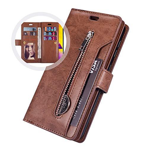 Coque Samsung Galaxy S20 Plus,Housse Protection en Cuir Véritable avec[9 fente pour Cartes],JAWSEU Antichoc TPU Etui à Rabat Portefeuille Flip Case[Stand Fonction]Coque pour Galaxy S20 Plus(Marron)