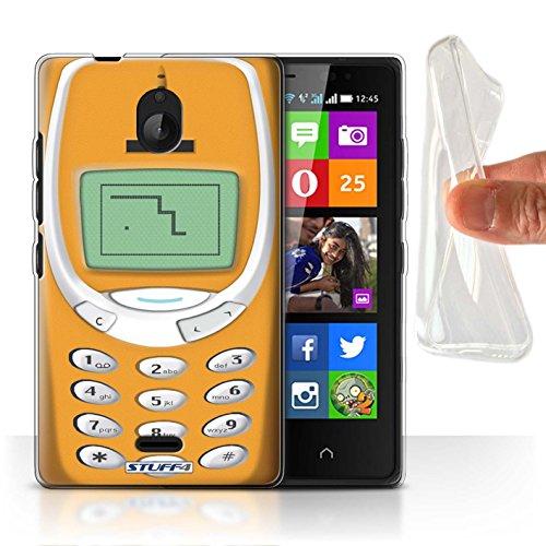 Stuff4® Custodia/Cover Gel/TPU/Prottetiva Stampata con Il Disegno Telefoni retrò per Nokia X2 Dual Sim - Arancione Nokia 3310