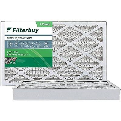 FilterBuy 16x25x4 Air Filter MERV 13, Pleated HVAC AC Furnace Filters (2-Pack, Platinum)