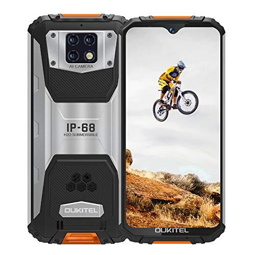 OUKITEL WP6 アウトドア スマートフォン SIMフリースマートフォン スマホ本体 10000mAhバッテリー6GB RAM 128GB ROM 48MPトリプルリアカメラ 6.3インチ FHD+ Android 9.0 Helio P70 IP68 防水 防塵 耐衝撃 スマートフォン指紋認識 顔認証 携帯電話 デュアルSIM(Nano) 防災用品 1年間保証付き (オレンジ)