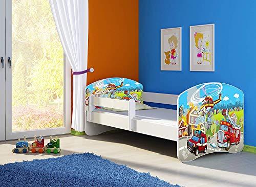 Clamaro 'Fantasia Weiß' 140 x 70 Kinderbett Set inkl. Matratze und Lattenrost, mit verstellbarem Rausfallschutz und Kantenschutzleisten, Design: 37 Feuerwehr