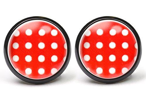 LA FABA, Ohrstecker in vielen Farben, Polka Dots, Polka Punkt, Ohrringe gepunktet, Punkte Weiß auf Rot, Ø 14 mm Durchmesser, Modeschmuck, Rockabilly Schmuck, Rockabilly Accessoires, (PP - schwarz)
