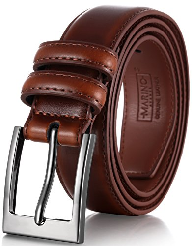 Marino's Men Genuine Leather Dress Belt with Single Prong Buckle - Burnt Umber - 30