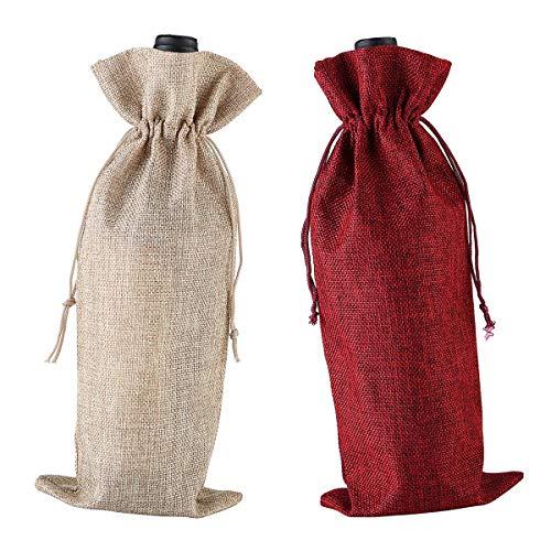 Bolsa de vino de arpillera, cordón reutilizable, bolsa de licor, 2 unidades (rojo, color primario)