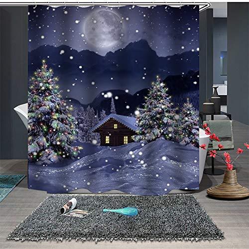 JYEJYRTEJ Winternacht, rauchender Kamin, weißer Weihnachtsbaum Bad Duschvorhang, waschbar, schnell trocknend, 3D HD Druck, 12 Haken, 180 * 180cm