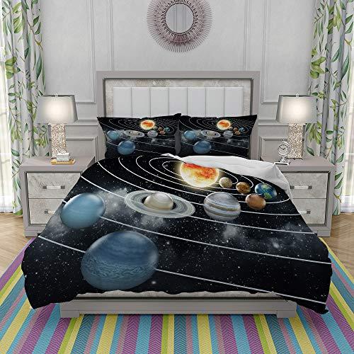 REIOIYE Juego de Funda nordica,Ropa de Cama,Solar System All Eight Planets and The Sun Pluto Jupiter Mars Venus Science Fiction,Microfibra,Edredon 240x260cm con 2 Fundas de Almohada 50x80cm