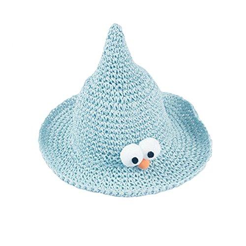 Glanzzeit children Straw Hat Funny Big Eyes Sun Hat Foldable Straw Braid Hat Halloween Witch Hat (Light Blue)