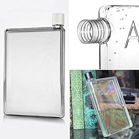 Memobottle - Botella de agua plana de 420 ml, tamaño A5, transparente