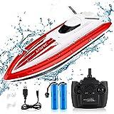 RC Barco Teledirigido Boat - Barcos de Control Remoto Lancha Radiocontrol Electrico de 2.4 GHz con 3 Baterías Recargables para Niño Niña