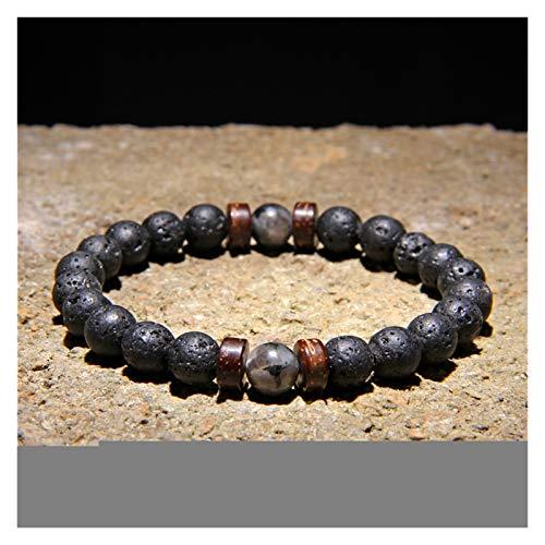 YCSC Pulsera Natural Moonstone Beads Tibetano Buda Pulsera Vintage Chakra Volcánico Lava Piedra Charm Pulsera Hombres Joyería (Length : 23CM, Metal Color : 11)