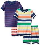 Amazon Essentials Kids Boys Snug-Fit Cotton Pajamas Sleepwear Sets, 4-Piece Multistripes Shorts Set, Large