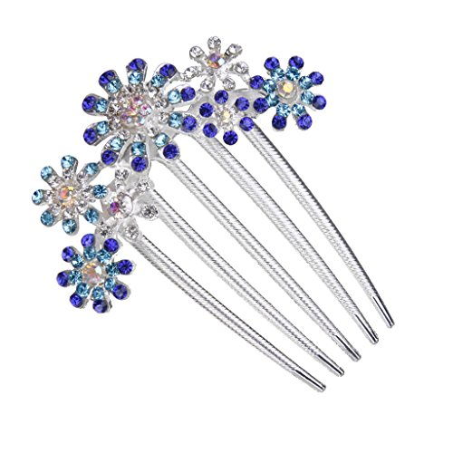 Bridal Women's 5-pin Hair Side Comb Clip Accessory Flower Rhinestone #5 by Generic