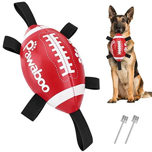 Pawaboo Hundespielzeug Ball, Lustig Tauziehen Hundeball mit Grab Tabs Großer Hundefußball 22 cm Hundeschleppspielzeug Interaktives Hundespielball für Kleine Mittlere Hunde, Rot weiß schwarz