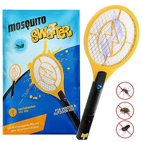 Zenoplige Bug Zapper, USB-laddningsbar flugfångare racket elektrisk insekt myggsmickare för inomhus och utomhus camping skadedjursbekämpning (gul)