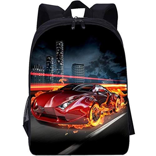 Flammenauto - Mochila con impresión 3D, correa ajustable para el hombro, holgada y cómoda, mochila unisex de alta calidad (carrito de 2, clases 1-6)