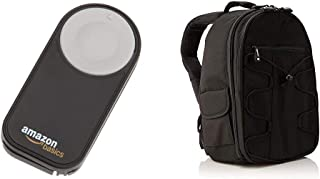AmazonBasics - Mochila para cámara réflex y Accesorios Color Negro + Disparador inalámbrico para cámara réflex Digital (5 Metros) Negro