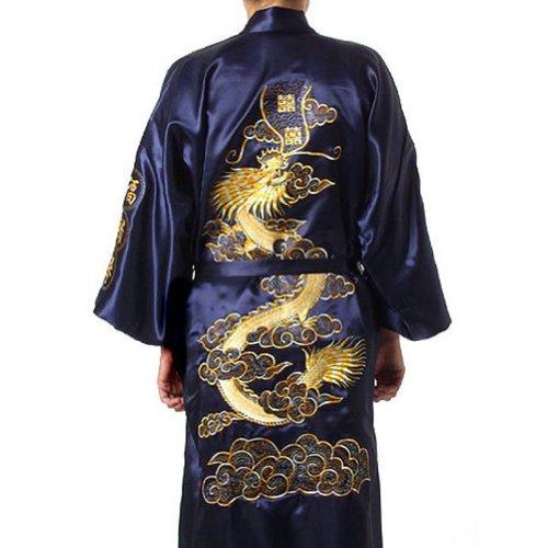 Chinese Men's Silk Satin Embroider Kimono Robe Gown Dragon (Navy Blue, XL)