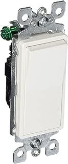 Leviton 5601-2WM 2 Pack 15Amp 120/277V Decora Rocker Single Pole AC Quiet Switch, White