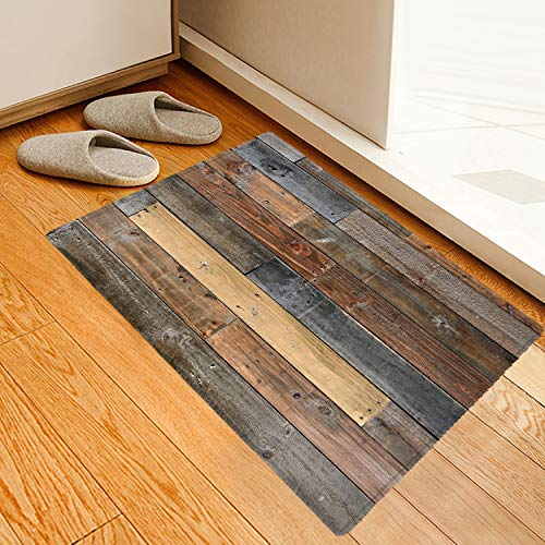 Rustic Old Wooden Board Printing Sponge Foam Indoor mat Non Slip Super Absorbent Soft Coral Fleece for Bathroom mats Bath Rugs Doormats Carpet 24x16 Inches