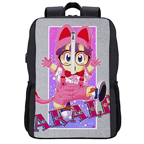 Arale Norimaki Katze Maglia Dr Slump Stars Rucksack Daypack Bookbag Laptop Schultasche mit USB-Ladeanschluss