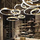 loonju Lujosa lámpara de araña LED redonda combinación para oficinas hoteles restaurantes, salones de salón club, oro rosa, diámetro de 40 cm