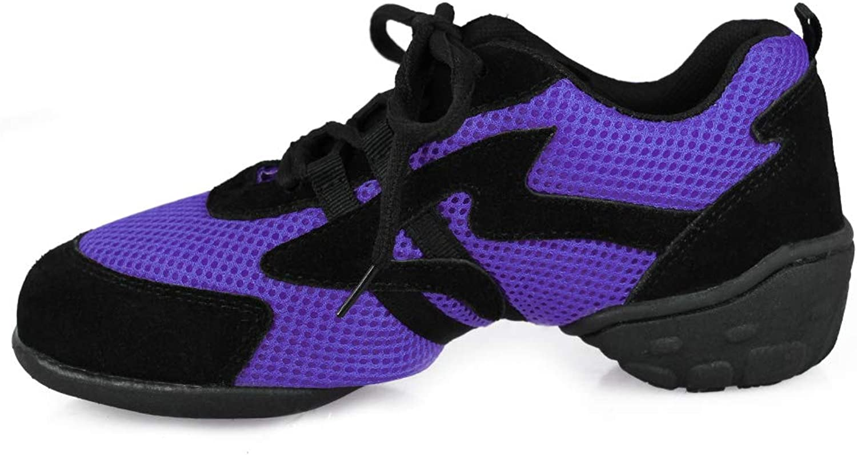 Roymall Men and Women's Black Mesh Boost Dance Sneaker Modern Jazz Ballroom Performance Dance-Sneakers Sports shoes,Model CMJ-FJW,8 B(M) US
