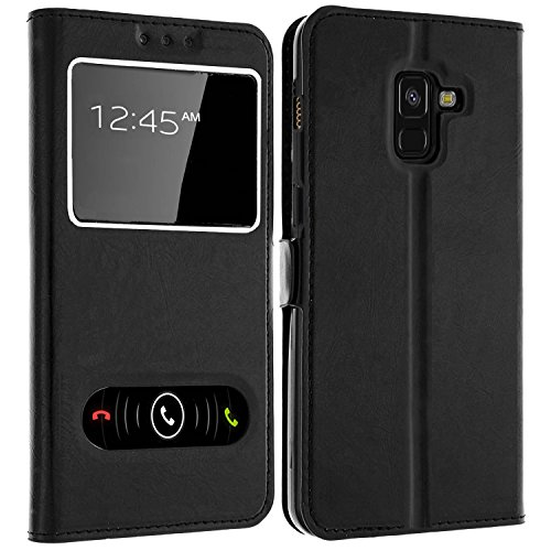 Gemtoo Samsung Galaxy A8 (2018) Hülle mit Window für Samsung Galaxy A8 2018, Tasche Schutzhülle Hülle für Samsung A8 2018, mehrere (schwarz)