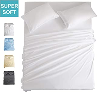 COHOME Full Bed Sheets Set 4 Piece, Microfiber 1800 Thread Count Luxury Egyptian Sheets-Stain Wrinkle Fade Resistant, Hypoallergenic 16 inch Deep Pocket Bedding Set (White)