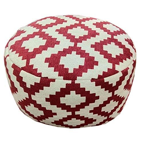 casamia Design Pouf Kelim Bodenkissen Sitzhocker Fußhocker rund Bolivien 55x37x55 cm handbedruckt 5 Farben Farbe rot - Vintage red
