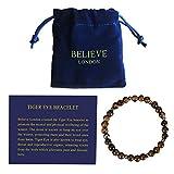 Believe London Tiger Eye Bracelet with Jewellery Bag & Meaning Card   Strong Elastic   Precious Natural Stones Crystal Healing Gemstone Men Women