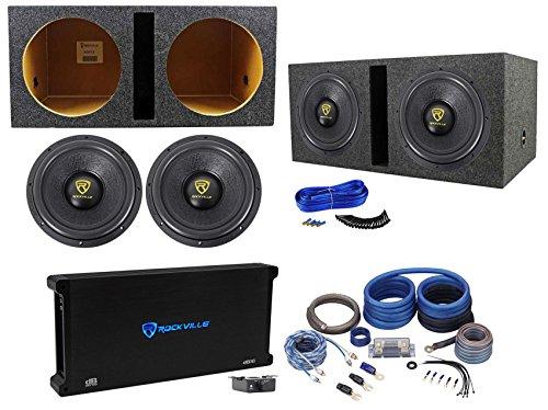 (2) Rockville W12K9D2 12' 8000w Subwoofers+Vented Sub Box+Mono Amplifier+Amp Kit