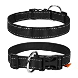 Adjustable Nylon Dog Collars, Harnesses for Small Medium Large Dogs and Puppy - Dog Collar Boy & Girl Dog Collars (Collar 9' - 13' Neck 5/8' Wide, Black)