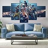 5ピースビデオゲーム無料ファイアキャンバスアートゲームポスター油絵壁紙壁家の装飾HDプリントアートワーク/ 30x4030x60 30x80cm(フレームなし)