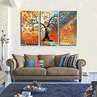 DIU Hand Painted Modern Abstract Tree Of Life Painting Set Of 3 Panel Wall Art Oil Canvas Picture Decoration Home