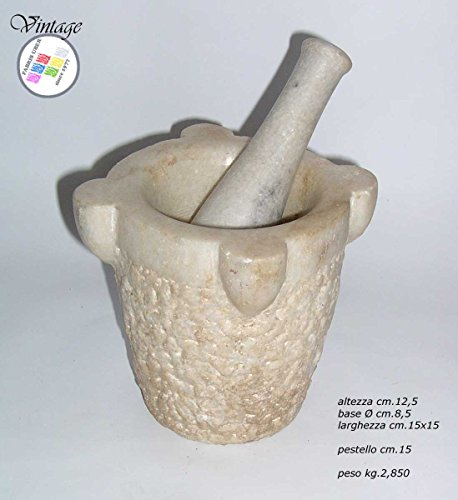 Antiker Mörser Marmor mit Stößel Speziale Apotheke Küchenmöbel