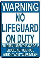 アルミ金属看板おかしい警告義務の子供にはライフガードなしプールスタイルB有益な目新しさ壁アート垂直